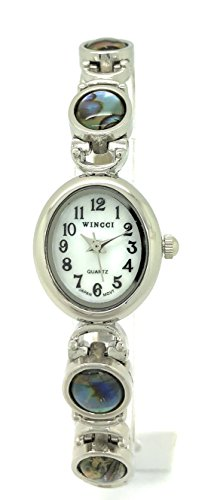 Ladies Oval Stones Metal Link Bracelet Fashion Watch Pearl Dial Wincci (Silver Abalone)
