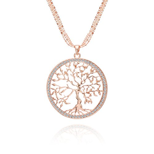 - Ouran Fashion Necklace for Women,Celtic Tree of Life Pendant Necklace with CZ Crystal Girls Long Chain Sweater Necklace Shining Rhinestone Necklace (Rose Gold)
