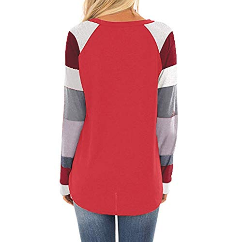 sexy Contraste femme Pull Shirt Sweat Chic lache Shirt Chemisier Femme Haut Longues T LANSKIRT Manches Rouge Pull Rond Femme Col Femme pw0S1Sq