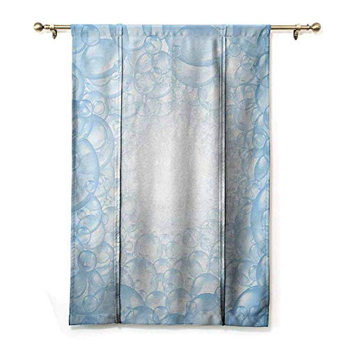 - Homrkey Light Luxury Upscale Roman Curtains Nursery Bubble Bath Soap Suds Floating Circular Foam Spheres Aquatic Artwork Print Simple Style W48 xL64 Blue and White
