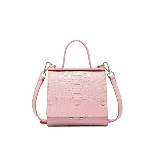 Mode Cuir poignée Bandoulière Sac Carré PU Couleur Classique Unie à Top Main Sac En Sacs à Pink Petit tXRwqqFB