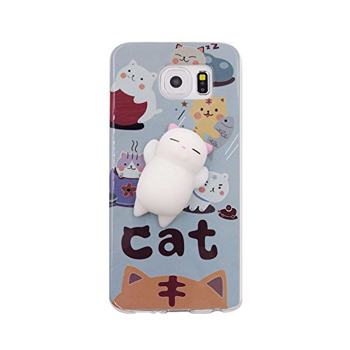 Galaxy S6 Case,Squishy Bear case 3D Cute Pinch Toy Soft Cover by One button,Relieve stress,Easy cleaning (lovely cat)