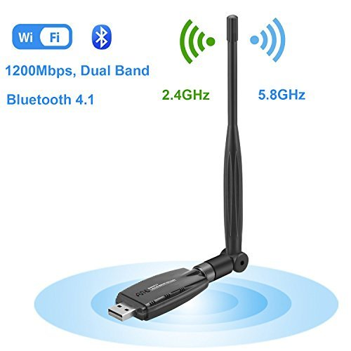 Wireless USB WiFi Bluetooth Adapter, WiFi Network Adapter LAN Card AC1200 Dual Band 2.4G/300Mbps+5.8G/867Mbps 5dBi Antenna...