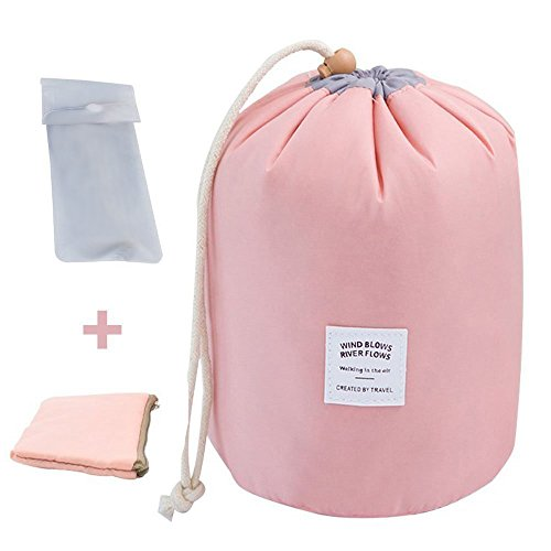 Tancendes Waterproof Travel, Makeup, Cosmetic Bag, Travel Kit Organizer, Bathroom Storage Cosmetic Bag Carry Case, Toiletry Bag, Pink