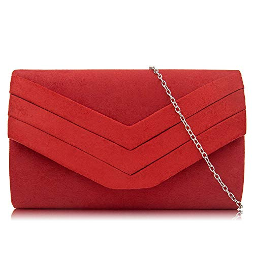 Milisente Clutch Purses for Women Velvet Envelope Evening Bags Classic Shoulder Clutch Purse (Red)