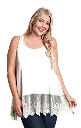 Ribbed Tank Top Lace (Umgee Women's Ribbed Tank Top with Lace Trim Plus Size (XL, Taupe))