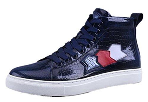 Happyshop (tm) Sneaker Moda Uomo Scarpa Sportiva Stringata In Pelle Scarpe Casual Stivaletti Blu