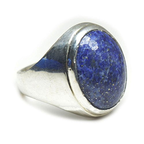 Jewelryonclick 7 Carat Natural Lapis Lazuli Stone 925 Silver Men Women Ring Size US 5,6,7,8,9,10,11,12,13