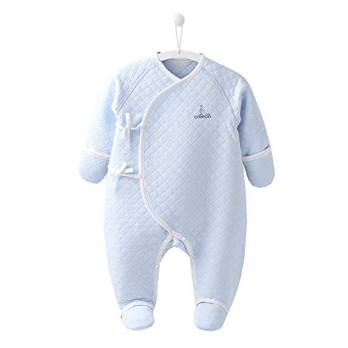 (COBROO 100% Cotton Baby Footie Pajamas with Mittens Side-Belt Infant Footed Sleeper Cozy Warm Baby Outfits 0-3 Months Blue)