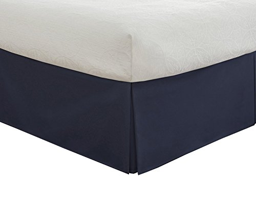 "SRP Bedding Real 210 Thread Count Split Corner Bed Skirt / Dust Ruffle King Size Solid Navy Blue 16"" inches Drop Egyptian Cotton Quality Wrinkle & Fade Resistant"