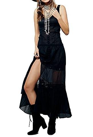R.Vivimos Women Summer Sleeveless V Neck Sexy Long Dresses Medium Black - Hot Sexy Black Formal Dress