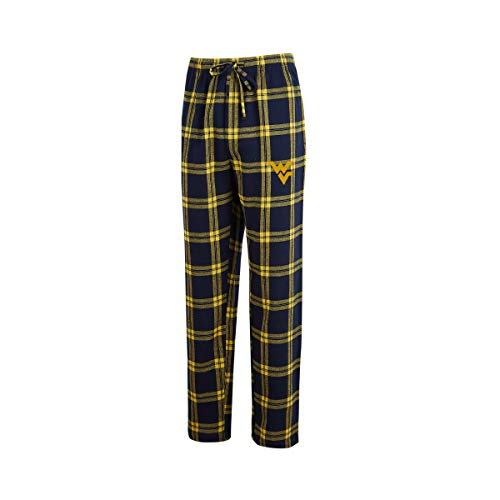Virginia Basketball West Mountaineers Men - Concepts Sport Men's NCAA-Homestretch-Plaid Sleepwear Pajama Pants-West Virginia Mountaineers-Large