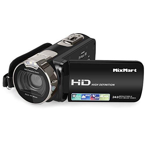 MixMart Videocámara, Camcorder HD 1080P 24 MP 16X Digital Zoom Video Camcorder con Pantalla LCD y rotación de 270 Grados