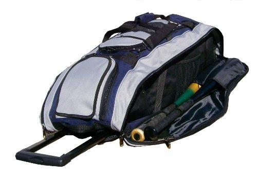 Navy Blue and Silver Cobra RTS Softball Baseball Bat Equipment Roller Bag by MAXOPS