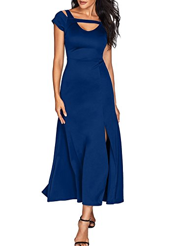Women's Sexy V Neck Cold Shoulder Short Sleeve Maxi Dress Split Formal Evening Party Long Dress Prom Gowns Solid Navy XL 16 18 Cocktail Wedding Dress Gown