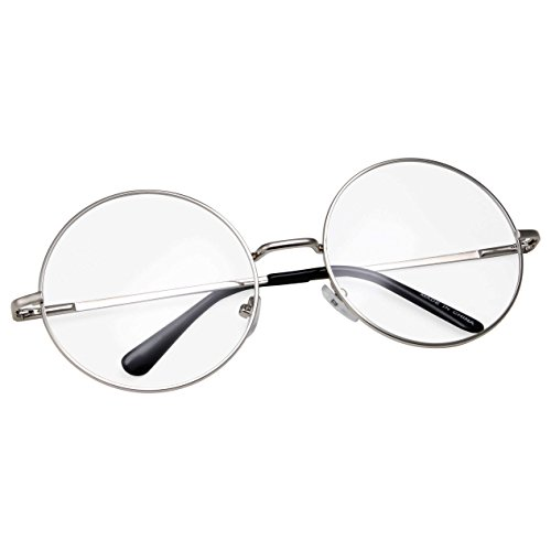 grinderPUNCH - Non-Prescription Round Circle Frame Clear Lens Glasses Medium Silver