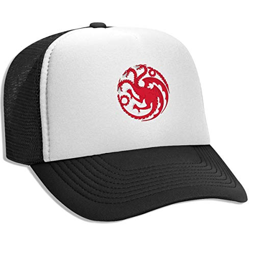 (Trucker Hat Thrones Red Dragons Snapback Mesh Baseball Caps for Men Women Black)