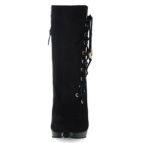 Schwarz Herbst Damen Stiefel RAZAMAZA Reißverschluss ZIAq5wx5