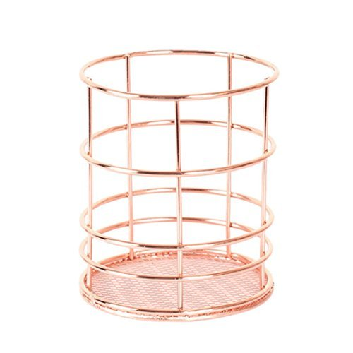 Pencil Holder ,Amamary88 Metal Pen Pencil Holder Oval Shape Desk Stationery Organizer Wired Mesh Design Rose Gold For Office Home School (round)