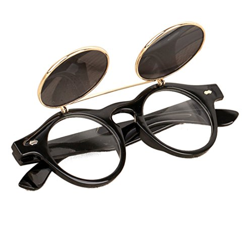 Voberry® Fashion Steampunk Design Costume Round Glass Flip up Clear Lens Golden Frame Brown Sunglasses Glasses Eyewear Lens - Lenses Flip Up
