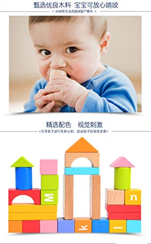 Lxrzls Large Wooden Building Blocks-Preschool Education for Toddler Children-Stacking Toys-Wooden Shape to Build Blocks Children's Educational Toys by Lxrzls (Image #2)