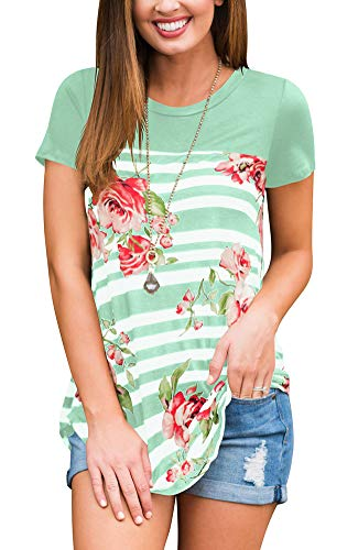 FAVALIVE Womens Summer Color Block Tee Shirts Short Sleeve Light Green M