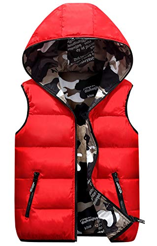 Happy Cherry Baby Girls Winter Vest Thicken Warm Eiderdown Cotton Puffy Zipper Up Hooded Hand Pocket Waistcoat 3-4T Red ()