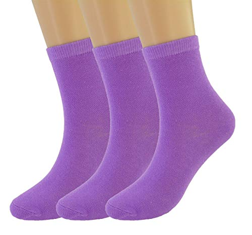 VIVIKI Women Socks, Super Soft Combed Cotton Socks, Plain Ankle Socks 3 Pack (Purple) (Ladies Purple Cotton Socks)