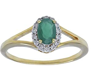 Palazzo Jewellery 18K White Gold 0.11ct Genuine Diamond with 0.41ct Emerald Oval Ring [11-1495-13]