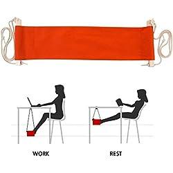 SMAGREHO Portable Adjustable Mini Office Foot Rest Stand Desk Foot Hammock (Orange)