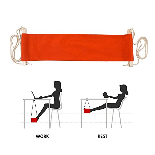 SMAGREHO Portable Adjustable Mini Office Foot Rest Stand Desk Foot Hammock (Orange) by SMAGREHO