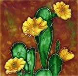 Continental Art Center SD-016 4 x 4 in. Cactus Yellow Flower Ceramic Art Tile