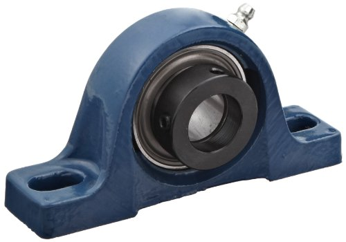 SKF SY 1.1/2 FM Pillow Block Ball Bearing, 2 Bolts, Normal-Duty, Eccentric Locking Collar, Contact Seals, Cast Iron, Inch, 1-1/2