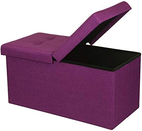 Otto Ben Folding Toy Box Chest with SMART LIFT Top, Upholstered Tufted Ottomans Bench Foot Rest for Bedroom, Orchid Purple