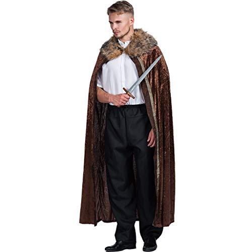 FantastCostumes Men Medieval Warrior Fur Trimmed Cape ... Brown