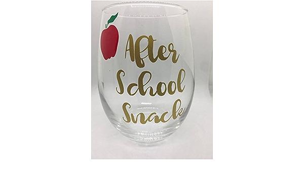 Teacher gift gold holiday gift apple After school Snack Stemless Wine Glass Teacher Gift