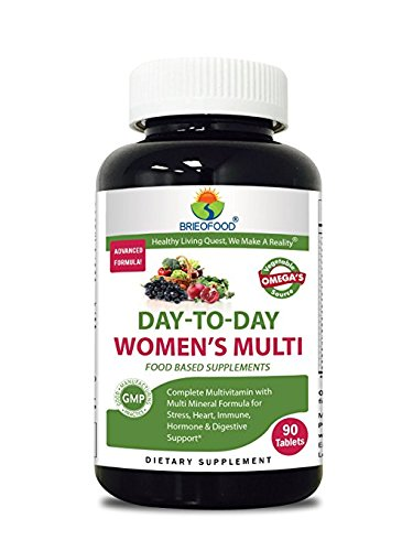 Brieofood Womens Multivitamin 90 Tablets, Food Based daily Multivitamin for women made with Vegetable Source Omegas, probiotics and herbal blends ()