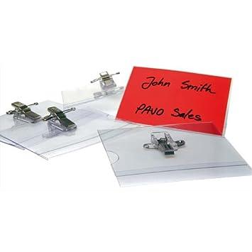 Pavo - Fundas para tarjeta identificativa (57 x 91 mm, con pinza e imperdible, 50 unidades)
