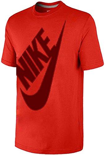 Nike Big Futura Swoosh Diagonal Outline T-Shirt (Red, XL)