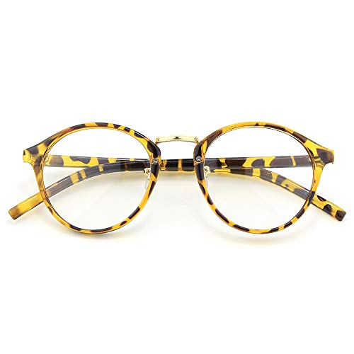 Happy Store CN65 Vintage Inspired Metal Bridge Round UV400 Clear Lens Glasses for Men and ()
