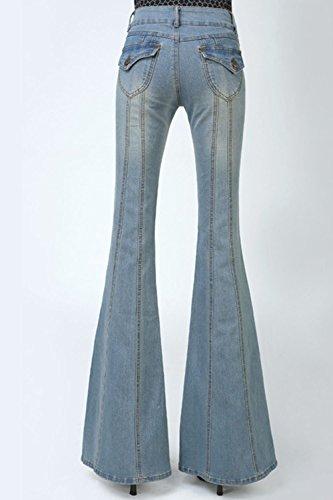 Largos Lightblue Pantalones Campana Jeans Elegante De Pantalones Fondo De Slim Mujer La Llamaradas A7XHwnqSS