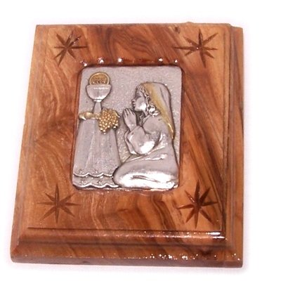 (Silver Plated icon Embedded Inside Olive Wood Frame - First Communion or Holy Communion icon)