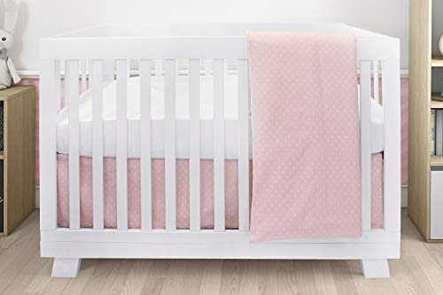 BOOBEYEH & DESIGN Baby Crib Bedding for Girls, Pink and White Mini Star Design, 4-Piece Set Includes Fitted Sheet, Crib Comforter, Comforter Cover, Skirt