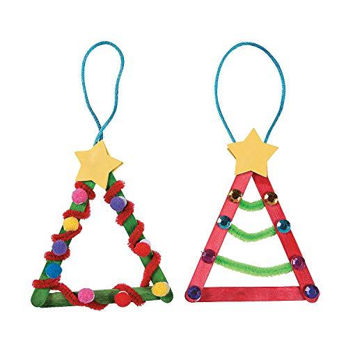 Fun Express - Craft Stick Christmas Tree Ornaments for Christmas - Craft Kits - Ornament Craft Kits - Non Foam - Christmas - 12 Pieces (Homemade Decorations Fun Christmas)