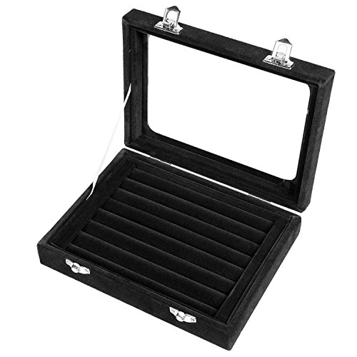 Basuwell Earring Storage 7 Slots Velvet Jewelry Tray for Drawers Glass Clear Lid Showcase Display Ring Organizer Earring Ring Trays Holder Cufflink Showcase-Black (Boxes Cufflink)