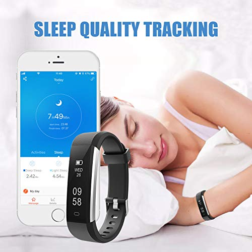 LETSCOM Fitness Tracker HR, Heart Rate Monitor Watch with Sleep Monitor  Step Counter Pedometer, Waterproof Smart Fitness Watch, Activity Tracker  for