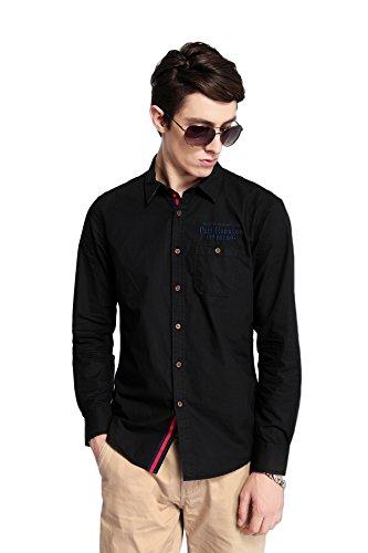 Dots Cotton Dog Collar (Pau1Hami1ton RF-23 Men's Dress Shirts Casual Cotton Long Sleeve Shirts(S,Black))