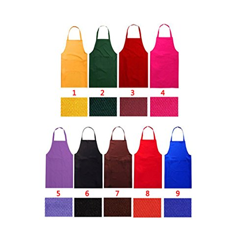 LOYHUANG Total 9PCS Plain Color Bib Apron Adult Women Unisex Durable Comfortable with 2 Front Pocket Washable Chef for Cooking Baking Kitchen Restaurant Crafting