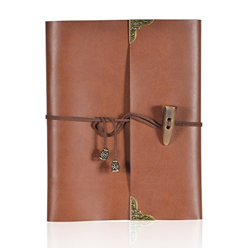 LoiZau Photo Album Leather Cover DIY Scrapbook with 60 Pages Self-Adhesive Vintage Albums for Baby Anniversary Wedding Family Graduation Travel Memory