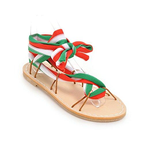 Zapato Sandalias Gran Blanco Planas Abierto Zapatos Tobillo Romano Mujeres Tamaño rojo 45 De Correas Y xEwaHWrIEq